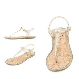 Kate Spade Gold Glitter Yari Jelly Sandals 7